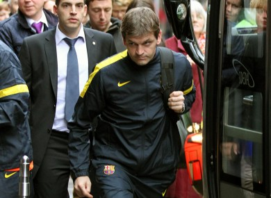 Barcelona manager Francesc Vilanova arrives at the team hotel in Glasgow.