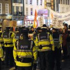 Gardaí stop protesters marching to Dublin Castle where Hillary Clinton and foreign ministers are being hosted at a dinner. (Pic: Laura Hutton/Photocall Ireland)