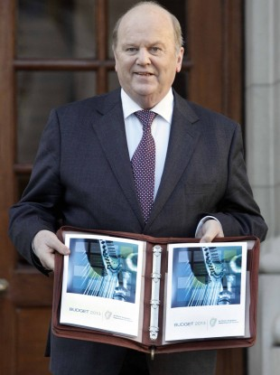 Finance Minister Michael Noonan with the Budget documents