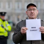 Anthony Dolan from Dublin with protesters outside the Dail. (Wanderley Massafelli/Photocall Ireland)