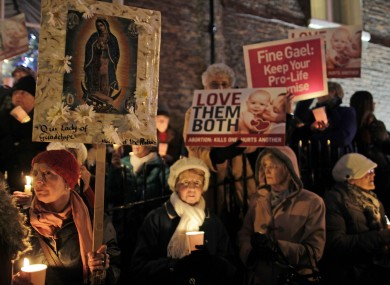 Pro Life protestors outside Leinster House, Dublin, at A Vigil For Life last night.