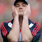Tough day at the office. Mayo manager James Horan reacts in disappointment during the finale as the prize of Sam Maguire slips away. (INPHO/Cathal Noonan).
