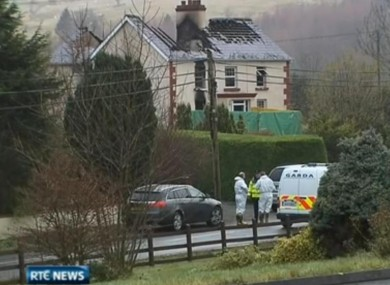 The scene of the house fire in Lisnabrack today