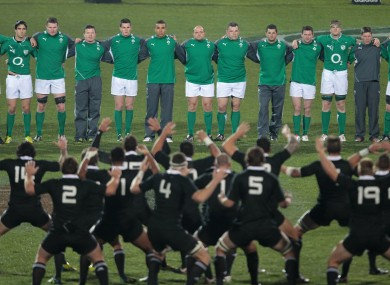 The Irish team face the haka.