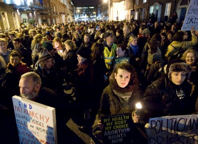 Pro-choice protesters at a demonstration demanding legislation for the X Case in Dublin last month. The government today confirmed it would introduce legislation to allow for abortion under the terms of the X Case ruling.