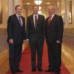 Bill Gates with  Taoiseach Enda Kenny and Tanaiste Eamon Gilmore in Goverment Buildings in Dublin. (Sam Boal/Photocall Ireland)