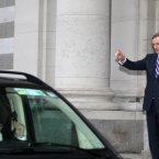Taoiseach Enda Kenny waves good bye to Bill Gates. (Sam Boal/Photocall Ireland)