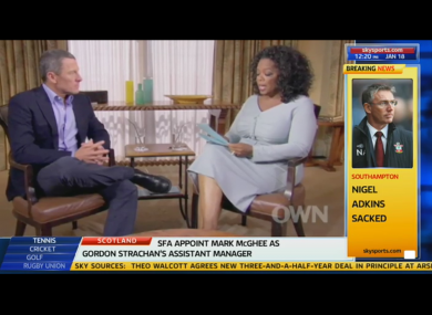Lance Armstrong: interviewed by Oprah.