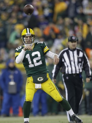 Aaron Rodgers won his first home playoff game on Saturday evening.