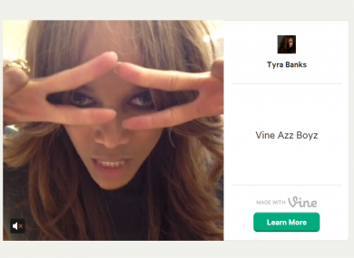 Tyra. Smizing AND Vining. Such talent.