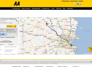 Aa Route Map Uk Major increase in number of American users of AA route planner