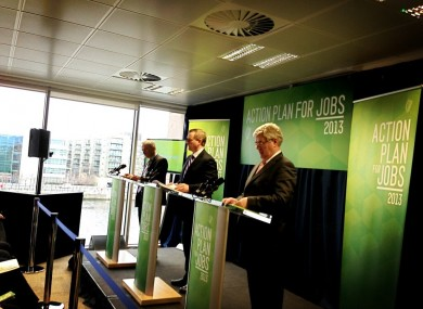 Richard Bruton, Enda Kenny and Eamon Gilmore launching the Action Plan for Jobs 2013 this morning