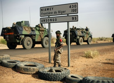 French armoured vehicles are seen heading towards the Niger border in Mali.