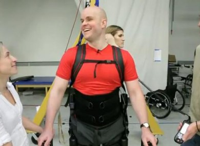 Mark Pollock when he tried out his robotic legs for the first time last year.