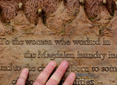 A general view of a plaque dedicated to Magdalane Laundry survivors in St Stephens Green in Dublin.