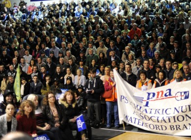 Frontline workers at the rally in Tallaght last month