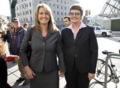 Plaintiffs Sandy Stier, left, and partner Kris Perry, right.