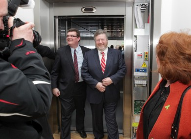 Lost in a lift: James Reilly emerges relatively unscathed.