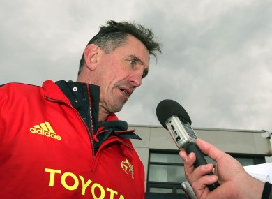 Munster head coach Rob Penney speaks to reporters.