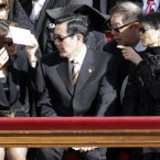 Taiwan's President Ma Ying-jeou, center, and his wife Chow Mei-chin, right. (AP Photo/Andrew Medichini)