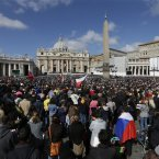 Crowds fill St. Peter's Square to attend the inauguration Mass for Pope Francis at the Vatican, Tuesday, March 19, 2013. (AP Photo/Alessandra Tarantino)