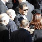 Argentina's President Cristina Fernandez, right, greets Ecuador's President Rafael Correa. (AP Photo/Andrew Medichini)