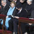 Italian President Giorgio Napolitano sits beside his wife Clio and President of the Italian Senate Pietro Grasso as they attend Pope Francis' installation Mass. (AP Photo/Andrew Medichini)