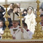 Pope Francis walks past the alter in front of St. Peter's Basilica in St. Peter's Square. (AP Photo/Gregorio Borgia)