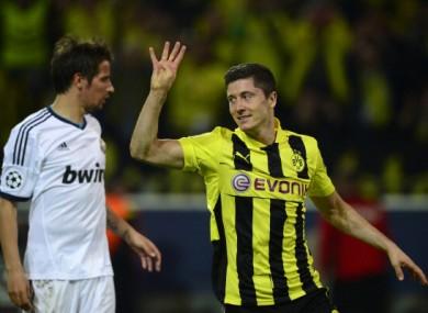 Lewandowski celebrates against Real Madrid.