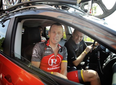 Lance Armstrong and then team director Johan Bruyneel.