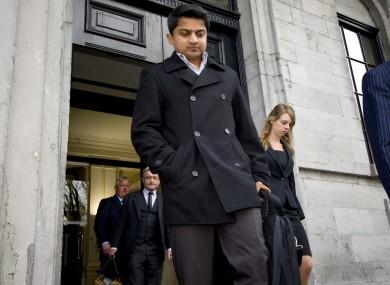 Savita's husband Praveen Halappanavar leaves the courtroom yesterday