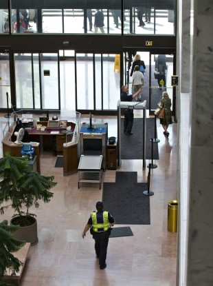 US Capitol Police order people to leave the lobby of the Senate Hart Office Building on Capitol Hill in Washington.