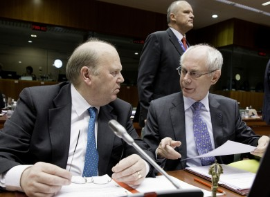 Michael Noonan talks with European Council president Herman van Rompuy at today's meetings of EU finance ministers in Brussels.