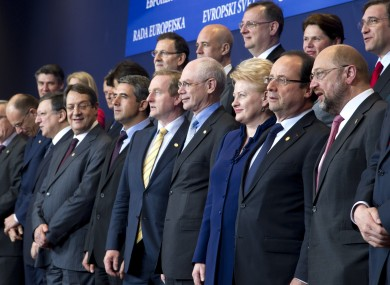 Enda Kenny and other EU leaders pose for a photo ahead of their European Council meeting in Brussels today.