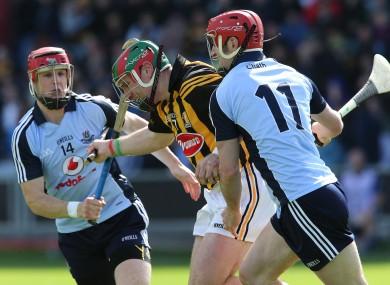 Kilkenny's Kieran Joyce tackled by David Treacy and Ryan O'Dwyer of Dublin.