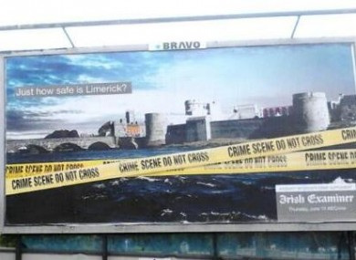 The controversial Irish Examiner billboard, which was defaced overnight
