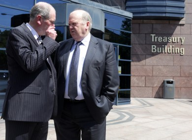 Minister for Finance Michael Noonan and NTMA CEO John Corrigan at the NTMA's Annual Report for 2012 launch today.