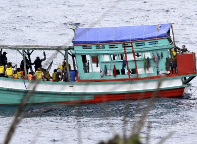 A fishing boat carrying Vietnamese asylum seekers near the shores of Australia's Christmas Island in April this year
