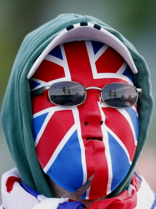 A Loyalist protester in the woodvale area of North Belfast, Northern Ireland