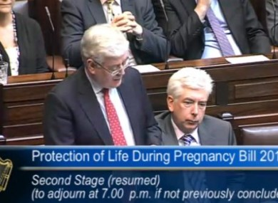 Tánaiste Eamon Gilmore speaking in the Dáil this afternoon