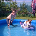 Pool fun with Coco the surfing Jack Russell.