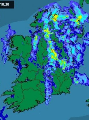The rainfall radar at 10.30am today