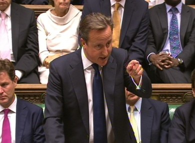 David Cameron in the House of Commons today.