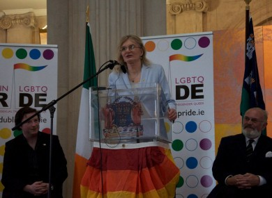Lydia Foy speaking at the launch of the Dublin Pride Festival in 2010.