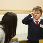 David Ciocan, 4, gets a teary-eyed when his mother has to leave him at Gardiner Street School, Dublin 1.<span class=