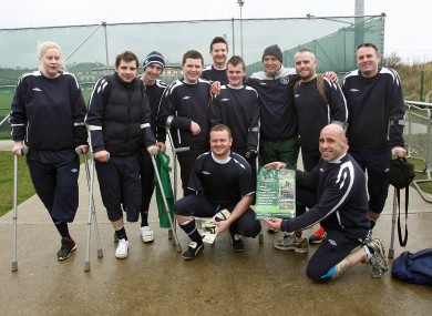 Members of the Ireland amputee football team with Marco Tardelli last year.
