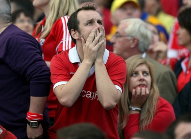 A Cork supporter reacts after Clare score yet another goal.