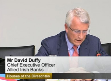 AIB CEO David Duffy appearing before the Oireachtas Finance Committee this afternoon.