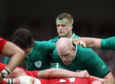Jamie Heaslip observes as Paul O'Connell and Donncha O'Callaghan scrum down.