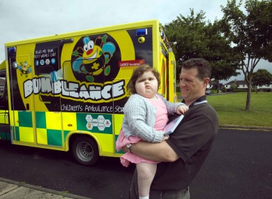 Aishling Quaid with her Dad Eamonn Quaid about to take their first journey in the BUMBLEance in Limerick.